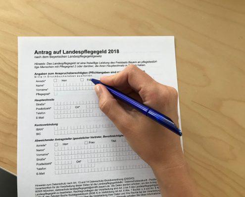 Antrag Landepflegegeld